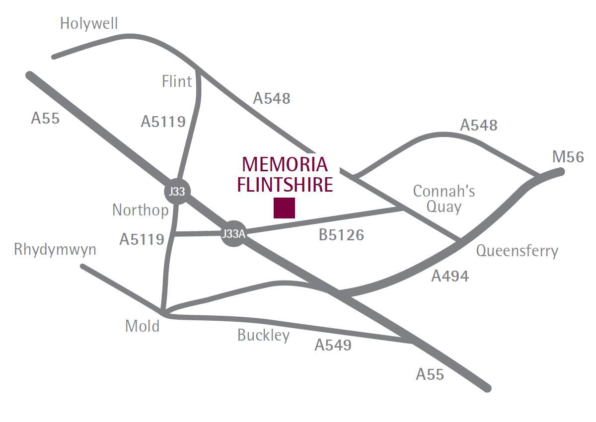 Flintshire Memorial Park and Crematorium Location Map